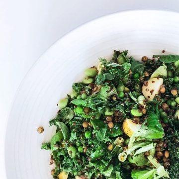 Salat med quinoa og linser - Opskrift på sprød og fyldig salat