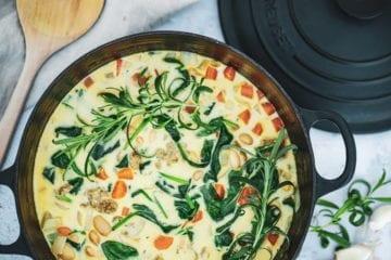 Opskrift på hvid bønnesuppe med krydrede kødboller