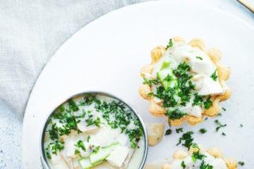 Opskrift på klassiske tarteletter med høns i asparges