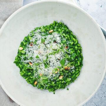 Spinatrisotto - Opskrift på cremet risotto med spinat