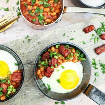 Sund morgenmad - Opskrift på spejlæg a la English Breaskfast