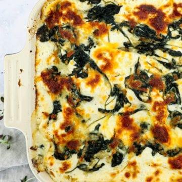 Lakselasagne - Opskrift på lakselasagne med spinat og ricotta
