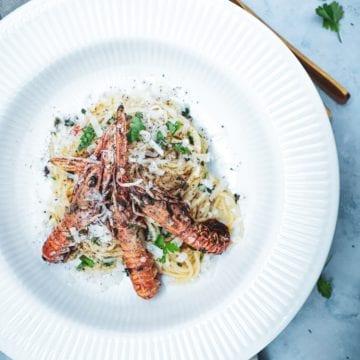 Pasta med jomfruhummer - Opskrift på skøn pasta med skaldyr