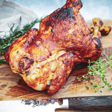Barbecue kylling - Opskrift på hel grillet barbecue kylling