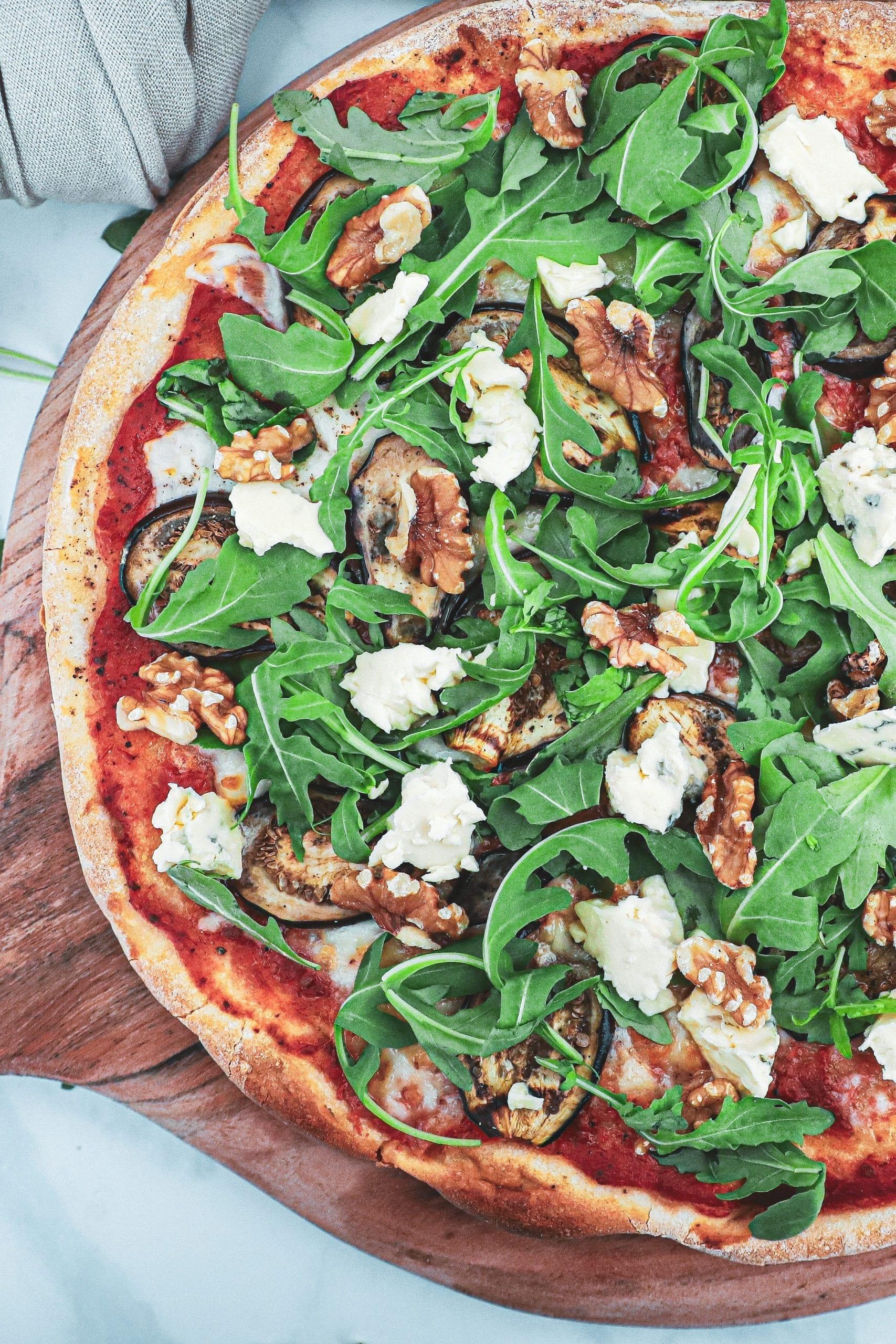 Pizza med aubergine og blåskimmel - Inspiration til topping
