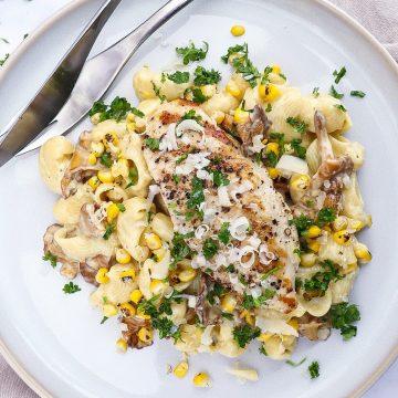 Pasta med kylling og kantareller - Pasta i cremet flødesauce